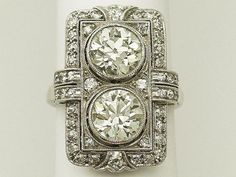 4.84 ct Diamond and Platinum Dress Ring - Art Deco Style - Antique Circa 1920