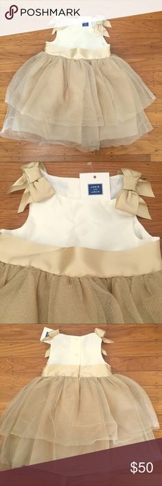 """Janie and Jack dress Cream and gold shimmer tulle party dress.  Perfect for a wedding flower girl, birthday party, Christmas or Holiday photos!! Satin bows on the shoulders.  NWT.  Would look so """"posh"""" with the baby fur coat for sale in my closet! Janie and Jack Dresses"""