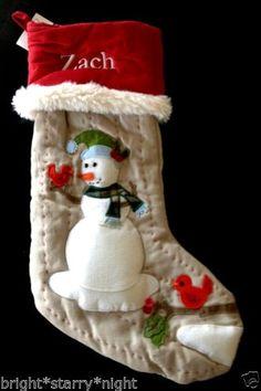 Pottery Barn Kids Christmas Woodland Linen Snowman Stocking Zach New Free SHIP | eBay