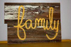 reclaimed barnwood, powerful word, yellow!, voila.