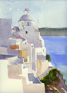 Watercolor Paintings by Chuch Albanese - Santorini Watercolor Paintings by Chuch Albanese - Santorin Watercolor Sketchbook, Watercolor Pictures, Watercolor Projects, Watercolor Landscape Paintings, Watercolor Illustration, Watercolor Artists, Abstract Paintings, Oil Paintings, Greece Painting