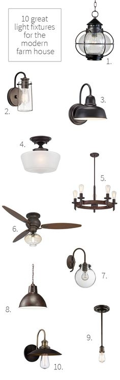 10 Great Farm House Light Fixtures | Just a few of the amazing light fixtures we've considered for the new house.