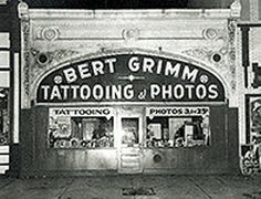 Bert Grimm's World Famous Tattoo, 26 Chestnut Place, Long Beach CA. Now Outer Limits. Still the oldest continuously-operating tattoo parlor in the continental U. Got my tattoo here. Old Tattoos, Great Tattoos, Vintage Tattoos, Tattoo Studio, Traditional Tattoo Old School, Traditional Tattoos, Bert Grimm, Louis Shop, Famous Tattoo Artists
