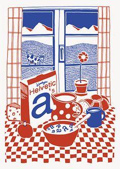 Shop - Helvetica Illustrated Riso Print – Silvan Zurbriggen | Slanted - Typo Weblog und Magazin