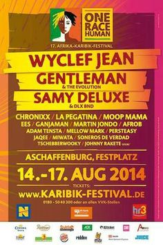 Afrika Karibik Festival 2014 | Aschaffenburg, Germany Martin Adams, Wyclef Jean, Reggae Music, Festivals, First Love, Live, Concert, Places, Stickers