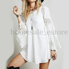 Womens-Bell-Sleeve-Lace-Crochet-Loose-Laides-Summer-Beach-Short-Mini-Shirt-Dress