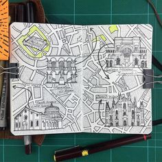 Milan map drawing inspired by my day trip with 7 hours I covered The stunning cathedral Dumo Di Milano Galaria Villoerio Emanuele as well as seeing the Famous Michelangelo Fresco of the Last Supper at the Santa Maria Delle Grazie more art and culture at the Pinacoteca Di Brera and a lot of walking around Sforza Castle goes with saying to enjoy coffee and gelato. #travelmap #ink #pen #illustration #draw #drawing #sketch #sketching #rotring #stationary #stationaryaddict #inkstagram #inkart…
