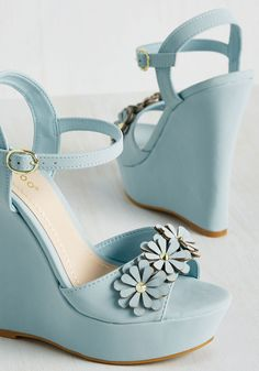 Unabashed Beauty Wedge in Sky. In these platform wedges, youll for sure be feelin your own femininity! #blue #modcloth