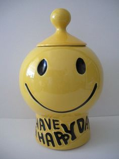 1970s McCoy Pottery Have A Happy Day Yellow Smilely Face Covered Cookie Jar 235 | eBay