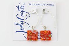 Jody Coyote Crafted Orange Glass Millefiori Bead Drop Earrings Sterling Silver #JodyCoyote #DropDangle