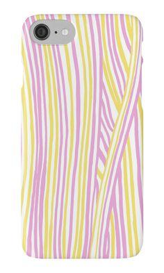 """""""Funky stripes, white, pink and yellow"""" iPhone Cases & Skins by ptitsa-tsatsa   Redbubble"""