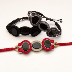 Onyx bracelet black red soutache-bracelet braided by MANJApl