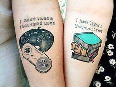 I like the book one cute tattoos, cool couple tattoos, matching tattoos for couples Gamer Tattoos, Tattoos Skull, Body Art Tattoos, Tatoos, Heart Tattoos, Cute Couple Tattoos, Tattoos For Guys, Couple Tattoo Ideas, Couple Ideas