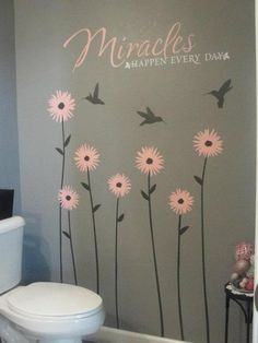 Pretty #uppercaseliving design for a #bathroom, or really any room!  #flowers #miracles #inspiration #believe #ultorreh