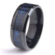8mm Black Hollow blue Dragon 316L Stainless Steel wedding rings for men women wholesale
