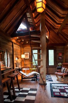 "interior-design-home: ""Tree house living area with a sleeping loft at the top of the stairs - located near the Crystal River in Colorado. × "" see similar interior designs here:. Tiny Living, Living Area, Living Spaces, Living Room, Log Homes, Tiny Homes, Tree House Homes, Tree House Interior, Interior Stairs"
