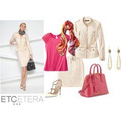 Etcetera | Spring 2015 - SANDDUNE jacket and skirt, LOLLIPOP knit top, MARSEILLE floral scarf.