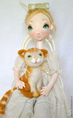 Купить Мой рыжий друг - белый, кукла ручной работы, текстильная кукла, кукла в подарок