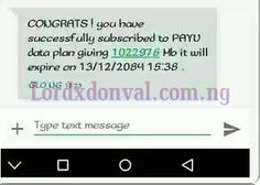 Did You Receive Free Data From Glo? Check Out!   Glo is amazing this days with the cheap data plan they introduced Glo has thought of dashing some customers free gigs unexpectedly.  I received this message from Glo  CONGRATS! you have successful subscribe to PAYU data plan 1022976Mb it will expire on 13|12|2084 15:38.  Its amazing i hope you got yours also?  If you have gotten yours kindly try and download some reasonable files because Glo might take it away anytime.  Now if you haven't…