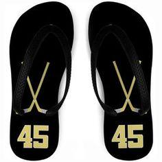 Hockey Flip Flops Personalized Crossed Sticks