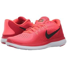 Nike Flex RN 2017 (Solar Red/Black/University Red) Women's Running... (265 BRL) ❤ liked on Polyvore featuring shoes, athletic shoes, running shoes, black lace up shoes, black shoes, nike shoes and red shoes
