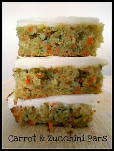 Want to get your kids to eat their veggies? How about serving them Carrot and Zucchini Bars with Lemon Cream Cheese Frosting? I would also add 1 Tbs. of ground flax and for older children some chopped walnuts or pecans for even more added health benefits... (extra fiber, protein and vitamins!)
