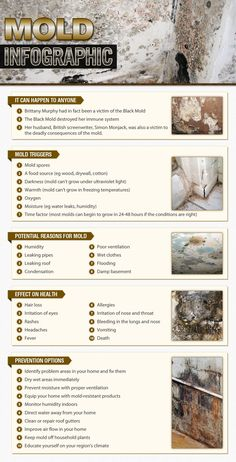 Mold shared by 911remediation | published Feb 16, 2014 in Business Get a visual look at our mold infographic that include mold triggers, potential reasons for mold, effects on health and prevention options.