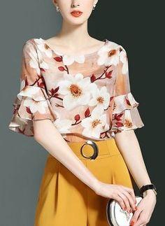 Women's Work Sexy Street chic Summer Blouse Skirt Suits,Print Round Neck Half Sleeves Mesh Split Chiffon Patchwork Micro-elastic 2017 - $17.99