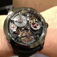 Greubel Forsey Double Tourbillon Technique black in titanium #watch super light, beautiful and almost $500,000 #tourbillon #ablogtowatch #sihh #watchporn #instawatches #greubelforsey