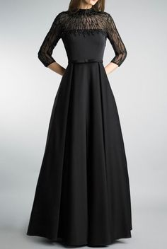 Basix Black Label Black Embellished Evening DressA Line Gown Black Gown With Sleeves, Long Sleeve Lace Gown, Evening Gowns With Sleeves, Red Evening Gowns, Dresses With Sleeves, Party Wear Dresses, Prom Dresses, Farewell Dresses, Indian Gowns Dresses