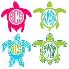Turtle Monogram Frame Cuttable Designs SVG, DXF, EPS use with Silhouette Studio & Cricut, Vector Art, Vinyl Digital Cutting Cut Files Cricut Monogram, Monogram Decal, Monogram Frame, Monogram Design, Monogram Fonts, Monograms, Anchor Monogram, Silhouette Cameo Projects, Silhouette Design