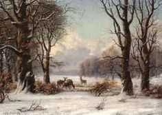 Winter landscape with deer by NILS H CHRISTIANSEN