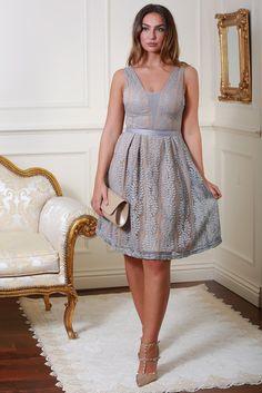 Celina Grey Lace Dress
