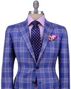 Kiton | Blue and Pink Plaid Sportcoat | Apparel | Men's