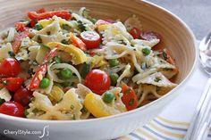Enjoy a light, primavera pasta salad that�s perfect for picnics!