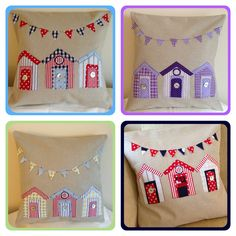 Appliqué beach hut cushions handmade by Chloe lukaszewski textiles find me on Facebook  Copyright 2013
