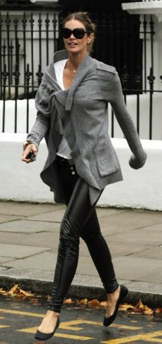 Very cool flats with leather pants and a styley cardy over.