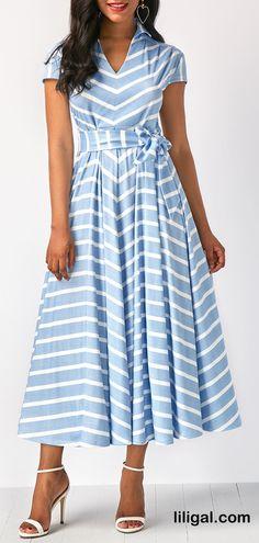 Belted Stripe Print Belted Cap Sleeve Dress   #liligal #dresses #womenswear #womensfashion