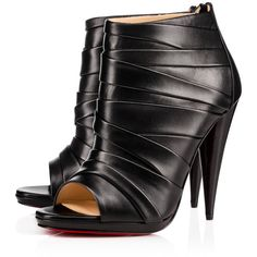 DRAPICONE  NAPPA SHINY 120 Black Lambskin - Women Shoes - Christian... ($1,105) ❤ liked on Polyvore featuring shoes, christian louboutin, booties, louboutin, black shoes, polish shoes, high heeled footwear, open toe shoes and black high heel shoes