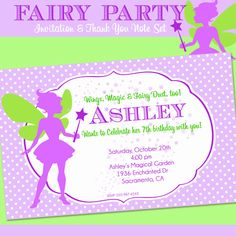FAIRY Party Invitation and Thank You Note Set - Birthday - Fairy Printables Collection - by Amanda's Parties To Go. $14.00, via Etsy.