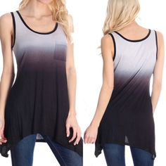 Black Ombré Tank S,M,L New without tags and direct from the distributor, this tank is made in the 🇺🇸USA🇺🇸! This super soft tank as a small chest pocket and is made with 95% polyester and 5% spandex for some stretch. Has a stylish asymmetric hem. Smoke free home. Tops Tank Tops