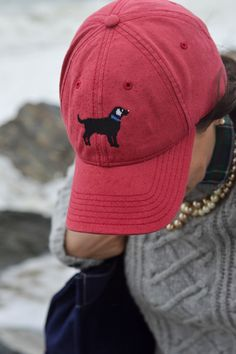 Love this needlepoint baseball hat from Harding Lane worn by Carly.  I need one with my yellow lab :)