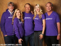 The Glen Campbell I'll Be Me gang (from left): Producer Trevor Albert, Kim Campbell, Glen Campbell, Ashley Campbell and Director & Producer James Keach. World Alzheimers Day, Kim Campbell, Famous Singers, Movie Releases, The Millions, Adidas Jacket, Musicians, Families, Writer