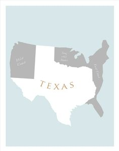 TEXAS Art Print - - Texas poster wall hanging Home decor Texas State Map, Texas Pride, Texas Longhorns, Southern Pride, Southern Charm, Southern Living, Round Top Texas, Just In Case, Just For You