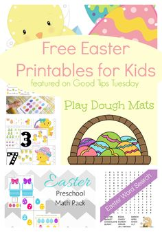 6 Free Easter Printables for Kids as featured on Good Tips Tuesday.