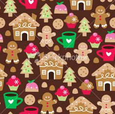 Stock Vector Illustration:  Retro Christmas Sweet Treats Seamless Pattern Background