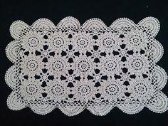 Vintage Doily. Large Crocheted Rectangular Lace Doily. Vintage Lace Table Runner. Ecru (Natural Cotton) Colour RBT0211