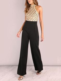 Sexy Sequined Stitching Sleeveless Slim Jumpsuit Long Flared Pants - RED L Jumpsuit Outfit, Cotton Jumpsuit, Look Thinner, Prom Dresses For Sale, Floral Print Maxi Dress, Long Jumpsuits, Collar Styles, Flare Pants, Jumpsuits