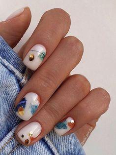Cute Acrylic Nails, Cute Nails, Gel Nails, Manicure For Short Nails, Nagellack Design, Nagellack Trends, Stylish Nails, Trendy Nails, Casual Nails