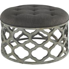 Quatrefoil Gray Cushioned Coffee Table
